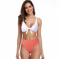 Kadın Mayo Yüksek Bel Bikini Mayo Kadınlar Çizgili Mayo Yay-Düğüm Iki Parçalı Set Beachwear Kadınlar için 2021 Yüzme Suit
