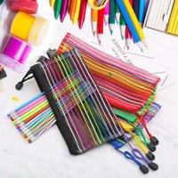 Hanging Baskets Zipper Mesh Pouch Pen Pencil Case Coin Purse Stationery Makeup Cosmetic Bag Random Color