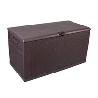 WACO Outdoor Storage Plastic Deck Box, Wicker Waterproof Container Set, Patio Garden Furniture for Tools Cushions Toys, Lockable, 120Gallon 460L - Brown