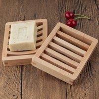 Pantalla de bandeja de plato de jabón de madera duradero Almacenamiento de placa de rack de jabón de almacenamiento Recipiente de caja de placa de baño para baño Baño de placa de ducha 556 R2