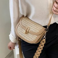Cross Body Casual Weave Straw Women Shoulder Bags Summer Strap Crossbody For 2021 Small Phone Flap Purse Ins
