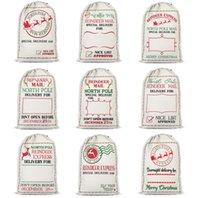 Merry Christmas Bambini regalo borse per la renna Lettera di renna stampata Grande capacità Canvas Borsa Xmas Gets Stocking Bambini Capodanno Borse di stoccaggio di caramelle Q2567
