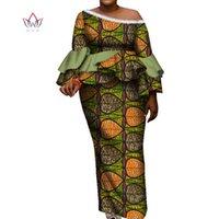 Etnik Giyim Geleneksel Kadınlar için Ruffles Top ve Etek Ayak Bileği Uzunlukta Vintage Set Baskı 2 Adet Artı Boyutu Afrika Stil Suit WY8149