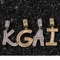 A-Z Custom Name Letters Necklaces Mens Fashion Hip Hop Jewelry Iced Out Gold Silver Initial Letter Pendant Necklace