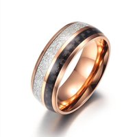 Wedding Rings Couples Ring Women Stainless Steel Fashion Carbon Fiber Wood Chip Inlaid Layered Black Gold Hip Hop Womans Accessories