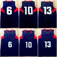 Vintage 2008 Team acht Jersey Navy blau 6 10 13 Jersey Basketball Uniform Weiße Männer genäht