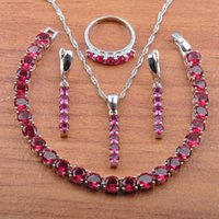 Wedding Jewelry Sets Birthday Gift Rose Red Zirconia 925 Sterling Silver Earrings Necklace Pendant Rings Bracelet Set JS0407
