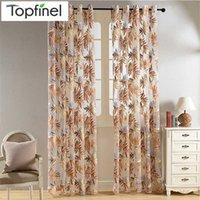Blatt Sheer Vorhang für Wohnzimmer Das Schlafzimmer Küche Tüll Für Windows Tropische Blätter Blaue Fensterdekoration Luxuriöse 210712