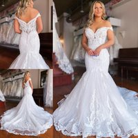 Gorgeous Lace Mermaid Wedding Dresses Bridal Gown 2021 Off the Shoulder Sweep Train Covered Buttons Back Custom Made Plus Size vestido de novia