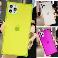 Quadrado Néon Fluorescente Cor Caixas de telefone claro para iPhone 11 Pro Max XS XR 7 8 Plus 12 Bling Glitter Shell Case