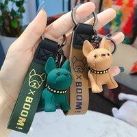 Método de dibujos animados creativo Películas de perros Corea del Sur Lindo Bulldog Llavero Muñeca Dog Pareja Colgante