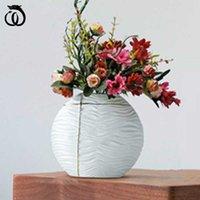 LONG Creative Luxurious White Ellipse Vase Modern Living Room Home Decor Dried Flower Arrangement Ornaments A3077 Vases