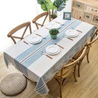 Mantel de lino decorativo a cuadros con borla impermeable espesante rectangular boda mesa de comedor cubierta mesa de mesa