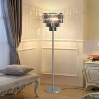 160cm height 38cm diameter modern smoky clear crystal led floor lamps with chrome body for villa living room bedroom bedside hotel decoration
