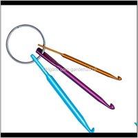 패브릭 및 바느질 도구 짧은 크로 셰 뜨개질 싱글 헤드 뜨개질 스웨터 바늘 M, 4mm, 키 링으로 5mm 3pcs / 세트 BPR81 F49SL