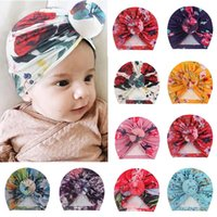 Floral Print Baby Hats Knitted Donut Hat Turban Cap Infant Toddler Newborn Bow Knot Wrap Beanie Beautiful India's Hat