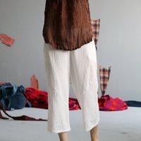 Women's Pants & Capris White Summer New Original Cotton Linen Elastic Waist Vintage Fashion Cool Casual YLHQ