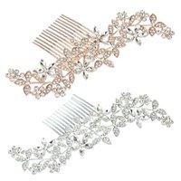 Zarif Düğün Kristal Gelin Saç Tarak Şapkalar Yanıp Süsler Rhinestone Inci Gelin Saç Klip Aksesuarları Takı