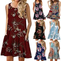 Women's Floral Printed Dresses Fashion Ladies Summer Boho Beach Sundress O-neck Vest Skirts Sexy Casual Holiday A line Mini Dress Women Clothing S-2XL