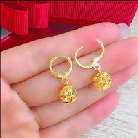 Japan and Korea fashion women's hydrangea earrings dangle, Vietnam Nansha-gold imitation 24K gold national style hollow ball-earrings [Store Opening]