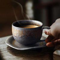 Cups & Saucers Japanese Porcelain Tea Retro Coffee Cup Vintage Household Water Mug Black Tazas De Ceramica Creativas Latte Teacup