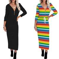 Casual Dresses Women Autumn Elegant Maxi Dress Zipper V Neck Lace Up Hoodes Long Sleeve Black Striped Office Lady Slim Plus Size Robe