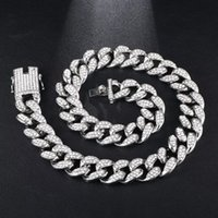 Luxury Designer Jewelry Mens Necklace Hip Hop Iced Out Cuban Link Chain Bling Diamond Tennis Statement Fashion Charm Rapper Jewlery 19MM Men