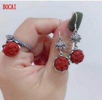 La giada naturale dell'annata dell'argento sterling S925 dell'argento sterling, giada bianca e anelli dell'orecchini di personalità del fiore del loto dell'agata rossa f anelli del lampadario dangle
