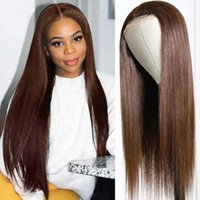 Lace Wigs Color 4 Human Hair 13x5.5 T Part Front Wig With Baby Light Brown Straight Deep 250 Density Frontal