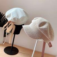 Sombreros Caps 2021 Larga Cinta Lace Femenino Arco de verano Elegante gorra militar Versátil Moda Boina