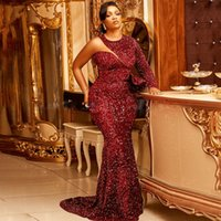 Plus Size Mermaid Evening Dresses One Long Sleeve Sequins Prom Gown Peplum Robe De Soiree Mariage