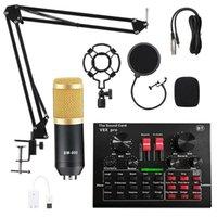 Pro Microphone Mixer Audio Dj Condenser Sound Card Live Broadcast MIC Stand USB Bluetooth Recording Professional Game KTV Microphones