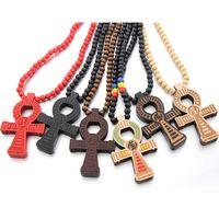 Хороший древесина крест кулон ожерелья египетская сила жизни дизайн Goodwood деревянные шармы бусины выступление ожерелье для женщин мода мужчины хип хмель