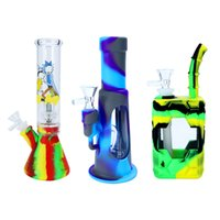 Hookah Silicone Food Grade Water Pipe Portable Glass Smoke Shisha Bong Transparent Bubble 14mm Joint Dab Rigs Slider Stem Funnel Small Medium Large