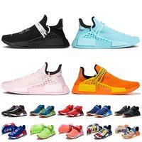 2021 Adidas Pharrell Williams NMD Human Race Yeezy أحذية الجري للنساء أحذية رياضية للرجال باللون الأسود والأخضر والوردي والبرتقالي من Hu Trail Nerd Solar حذاء رياضي إضافي