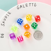 10 Colors Charms Transparent Dice DIY Earring Pendants Miniature Figurines Resin Craft Cabochon Charm Making Accessories 14X17MM