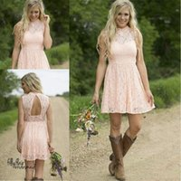 2021 Modest Country Western Full Lace Peach Short Lace Bridesmaid Dresses A Line High Neck Sleeveless Wedding Party Formal Wear