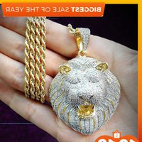 Iced Out Micro Pave Cubic Zircon Lion Head Pendant Necklace for Men Women Gifts Luxury Hip Hop Jewelry J0108