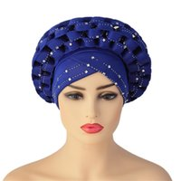 Cappucci africani con pietre Aso Oke Hijab Gelee Headtie già reso Turban Head Wrap Ladies Hat Cappellino Auto Cap Headtie Aso Oke Gele Cap