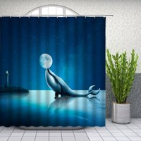 Funny Whale Moon Starry Sky Scenery Shower Curtains Ocean Lighthouse Bathroom Decor Home Bath Waterproof Polyester Cloth Curtain