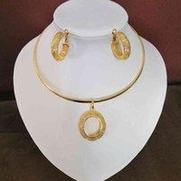 Прекрасные ювелирные наборы Подвеска Ожерелья Серьги для женщин Девушки Золотой Цвет Гана Нигерия Эфиопские Свадебные подарки