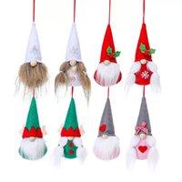 Christmas Faceless Doll Ornaments Tree Hanging Pendants Handmade Plush Gnome Santa Dolls Decorations 2pcs set GWB11365
