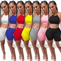 Frauen Zwei Stück Sets Sommerhosen Set Tops + Shorts Kurzes T-Shirt Sleeveless Spaghetti Strap Casual Sports Rib Suit Plus Größe S / M / L / XL / 2XL Rot Schwarz