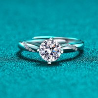 Couple RingsS925 pure silver, mullite white gold lady fashion opening week, four claw diamond ring simulation drill tiktok same