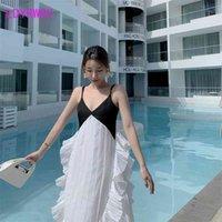 LDYRWQY Sexy und stilvolle chiffon-V-ausschnitt Strandkleid mit Halfterband für Sommeroffice Lady Polyester 210416