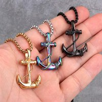 Wholesale Fashion 5 Colors Boat Anchor Chain Pendant Necklaces High Quality Cool Stainless Steel Men Women Neckalce Chain