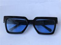 الرجال تصميم النظارات الشمسية المليونير 96006 مربع أسود الإطار الأزرق عدسة اللون أعلى جودة الصيف في avant-garde uv400 نظارات