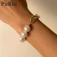 Link, Chain PuRui Vintage Pearl Bracelet For Women Bohemian Gold Color Bangles Bracelets 2021 Charms Fashion Couple Jewelry Gift