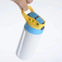 Sublimação de 6 cores Sippy Cup 350ml crianças garrafas de água com tampa de palha portátil de aço inoxidável bebendo copo para crianças bwf9042