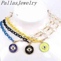 3шт пресноводные жемчужины для с эмалью глазные монеты подвесной шеи цепи ожерелье женщины CZ медные партии мода ювелирные изделия